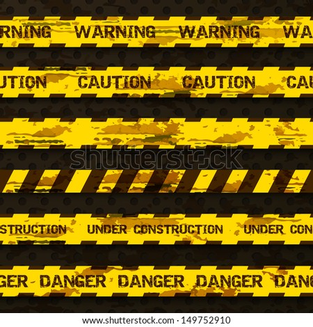 Set of grunge warning tapes isolated on dark doted background. Warning tape, danger tape, caution tape, danger tape, under construction tape. Vector ilustration - stock vector