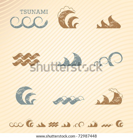 Set of grunge wave symbols for design - stock vector