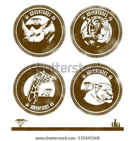 Set of grunge wild life animals rubber stamps, labels with text adventures - stock vector