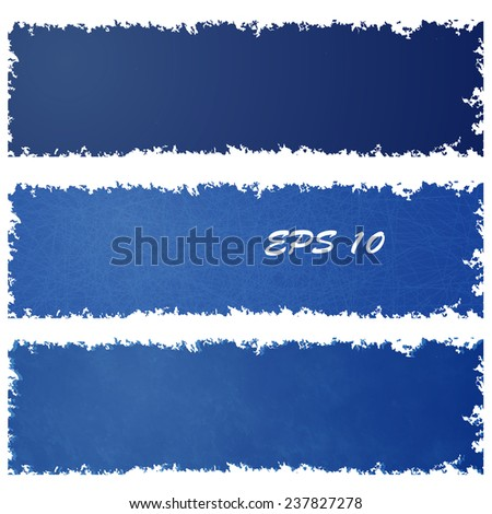 Set of grungy banners in vintage color with scratches. Element design. - stock vector