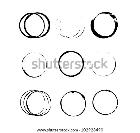 Set of grungy circle stains - stock vector