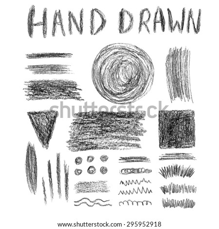 Set of grungy pencil textures. Vector elements. Brush and banners template - stock vector
