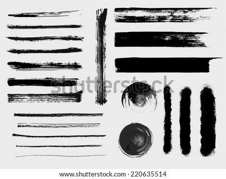 Set of grungy vector brushes - stock vector