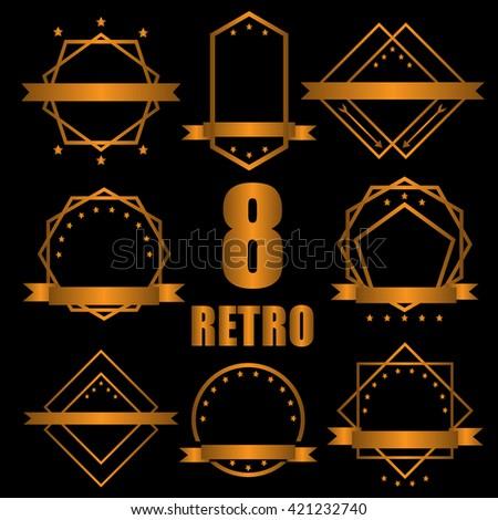 set of guarantee Tag label retro vintage style - stock vector