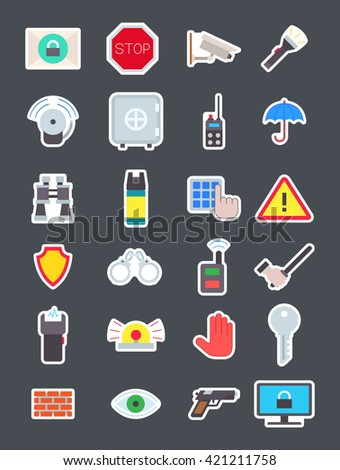 Set of 24 Guard isolated vector icons