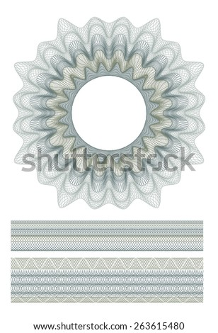 set of Guilloche decorative elements and borders for design certificate, diploma and bank note - stock vector