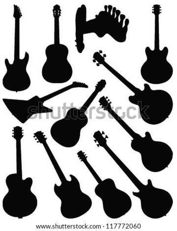 Set of guitar silhouettes 2-vector - stock vector