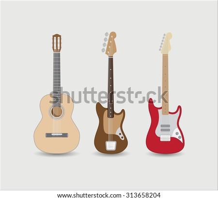 Set of guitars. Vector illustration - stock vector