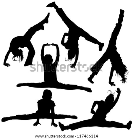Set of gym silhouettes isolated on white - stock vector