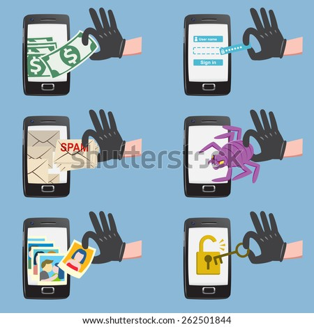 Set of hacker activity on smart phone with bug crack spam stealing money account password personal data - stock vector