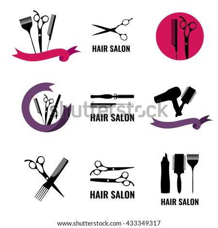 Set Of Hair Salon Logo Labels And Design Element