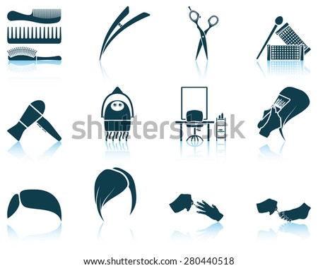 Set of hairdresser icon. EPS 10 vector illustration without transparency. - stock vector