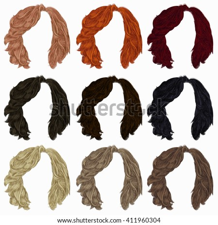 set of   hairs  different colors . - stock vector