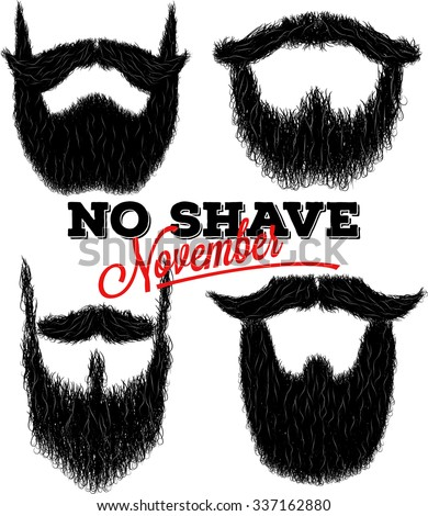 Set of hairy curly hipster beard drawings for No Shave November - stock vector