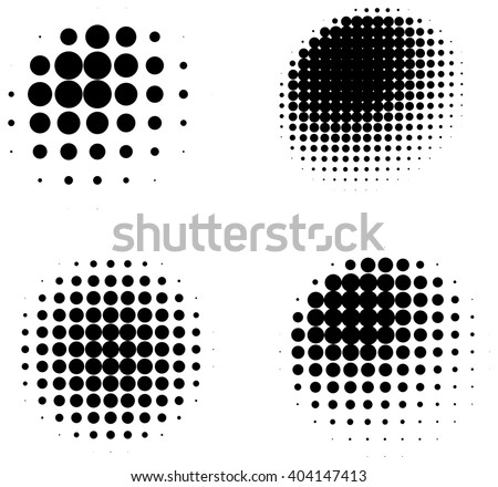 Set of halftone abstract shaded three dimensional spheres isolated on white background