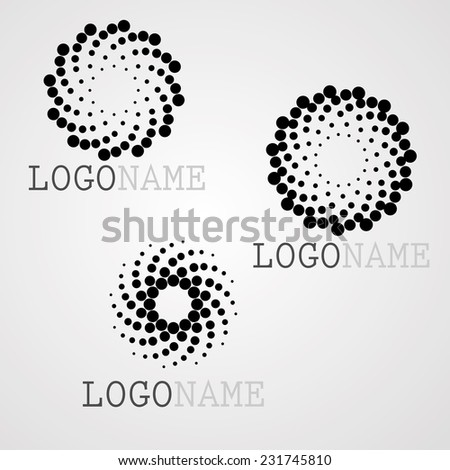 Set of Halftone Dots in Spiral Form. Vector Logo Design Template. Business Icon. - stock vector