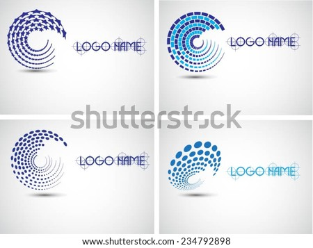 Set of Halftone Dots in Spiral Form. Vector Logo Design Template. Business Icon - stock vector