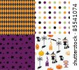 set of Halloween abstract seamless patterns - stock vector