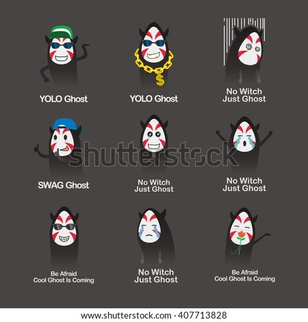 Set of Halloween asian ghosts design template. Vector illustration