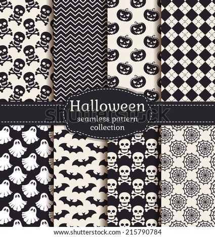 Set of halloween backgrounds. Collection of seamless patterns in black and white colors. Vector illustration. - stock vector
