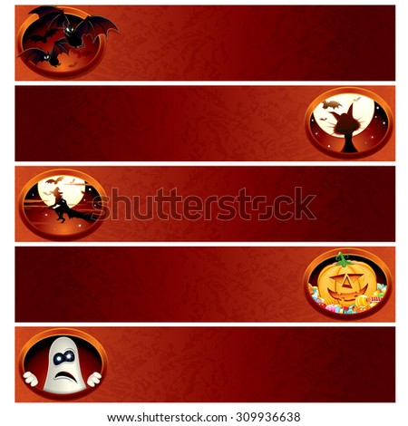 Set of Halloween Banners. Ready for Your Text and Design. - stock vector