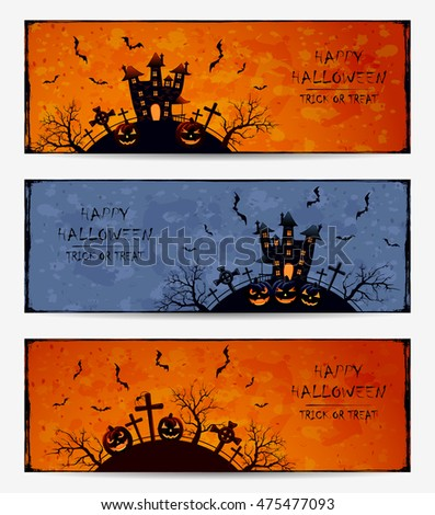 Set of Halloween banners with pumpkins and dark castle on cemetery, grunge background, illustration.