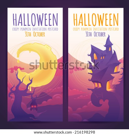 Set of Halloween banners with spooky haunted house and moon elements and invitation text - stock vector