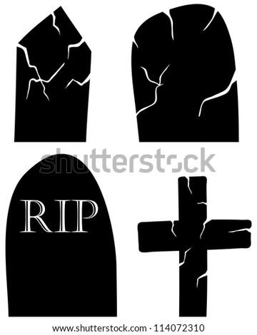 Set of halloween black grave elements. Vector illustration. - stock vector