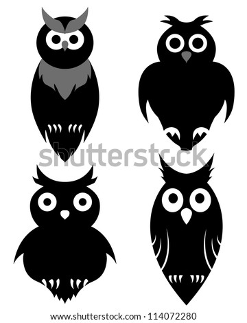 Set of halloween black owl. Vector illustration. - stock vector
