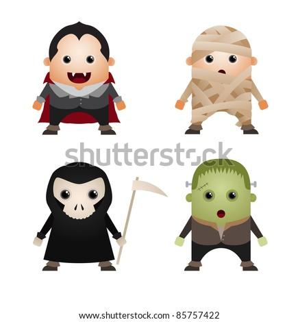 Set of Halloween Characters - stock vector