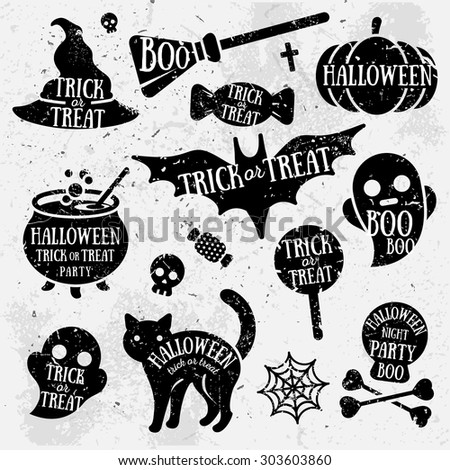 Set of Halloween Characters with Text Inside. Grunge Typographic Design. Scrapbook elements. Vector illustration. Textured background. - stock vector