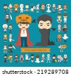 Set of 40 halloween costume characters , eps10 vector format - stock photo