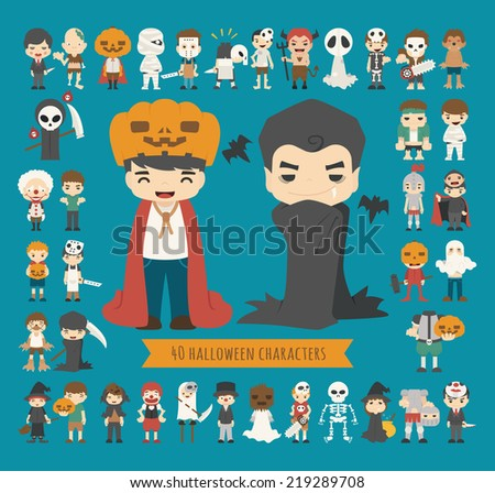 Set of 40 halloween costume characters , eps10 vector format - stock vector