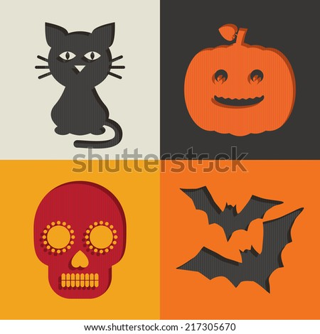 set of halloween cut out decorations with cat pumpkin skull and bats