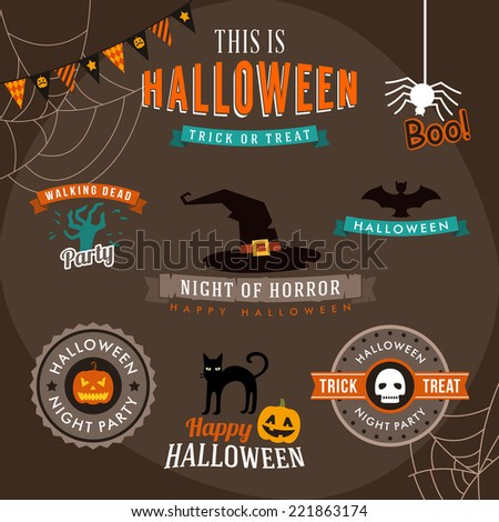 Set of halloween decoration design elements. Vector illustration. - stock vector