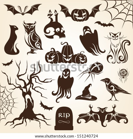 Set of halloween decorative elements. Monochrome version - stock vector