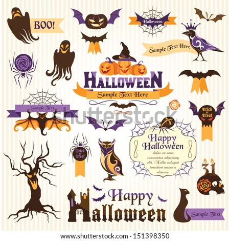 Set of halloween design elements. Color version - stock vector