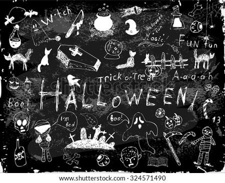 set of  halloween elements, Halloween simple doodles - stock vector