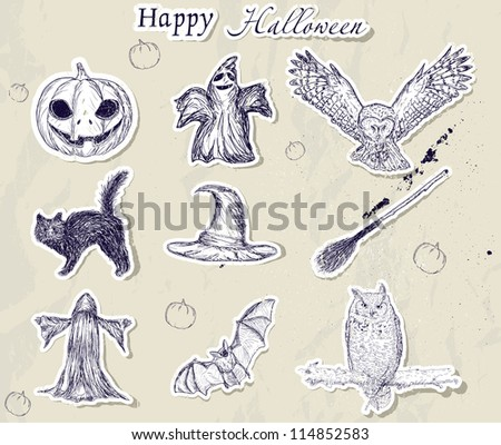 set of halloween elements, vector illustration