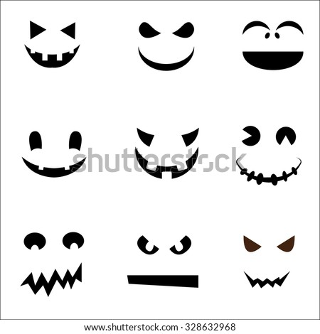 set of Halloween face ghost design  - stock vector