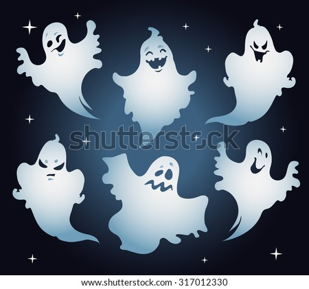 Set of halloween ghosts. - stock vector