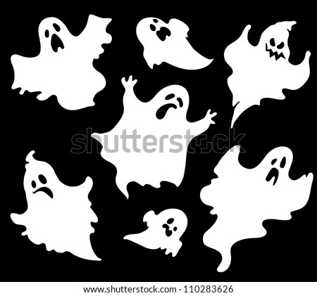 Set Halloween Ghosts Design Isolated On Stock Vector 110283626 ...
