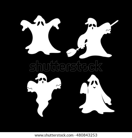 Set of halloween ghosts on a black background, Vector illustration
