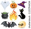 Set of halloween icons. - stock photo