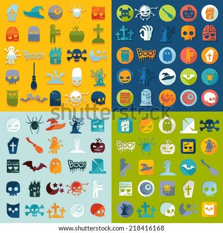Set of halloween icons - stock vector