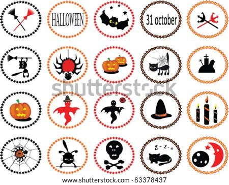 Set of 20  halloween icons - stock vector