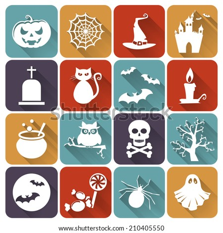 Set of halloween icons. Collection of flat design elements. Vector illustration. - stock vector