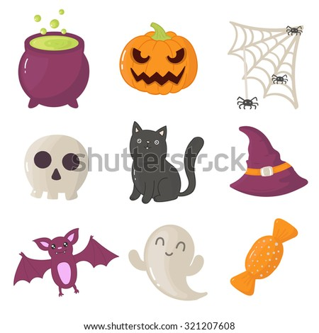 Set of halloween icons. Vector illustration of ghost, candy, cat, skull, spider, bat and pumpkin