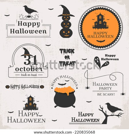 Set of Halloween labels - stock vector