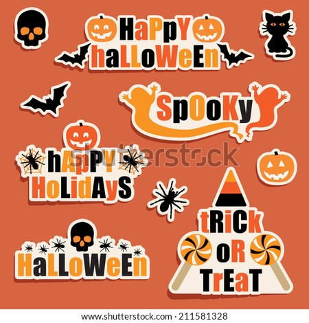 set of halloween labels and stickers, with transparencies on shadows - stock vector